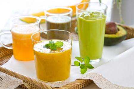 Fruits smoothie [ Mango,Avocado,Melon,Dragon fruit ] photo