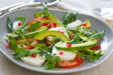 Avocado,Mozzarella and Pomegranate salad