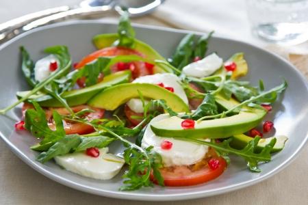 Avocado,Mozzarella and Pomegranate salad