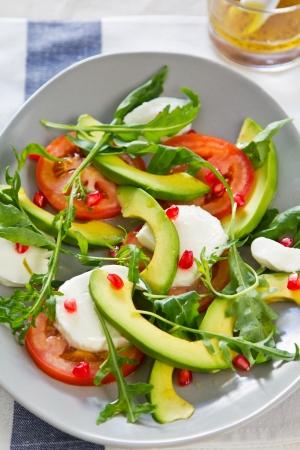 salad dressing: Avocado,Mozzarella and Pomegranate salad