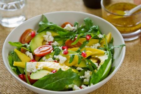 Mango,Avocado and Pomegranate salad Stock Photo
