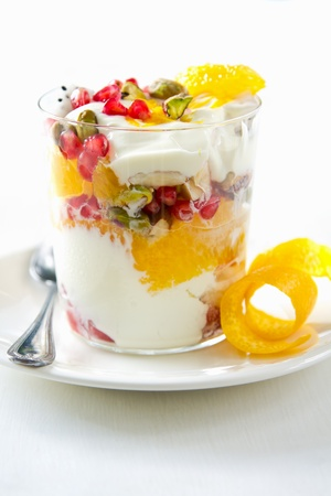 Varieties od fruits and nut with Greek yogurt  Stock Photo - 16702713
