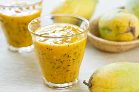 mango fruit: Mango with Passion fruit smoothie by fresh Mango Stock Photo