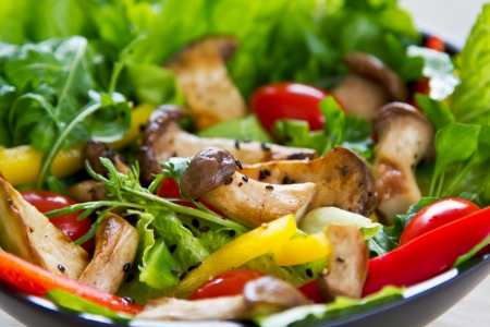 Grilled Oyster Mushroom with fresh vegetables salad photo