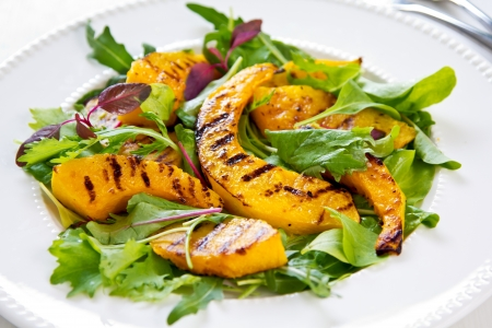 Grilled Pumpkin with rocket and spinach salad