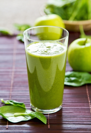 fresh spinach: Spinach with Green apple and celery smoothie Stock Photo