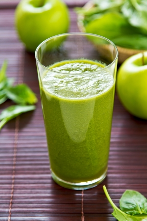 Spinach with Green apple and celery smoothie Reklamní fotografie