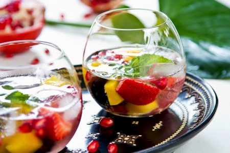 Mango with strawberry,grape and pomegranate sangria photo