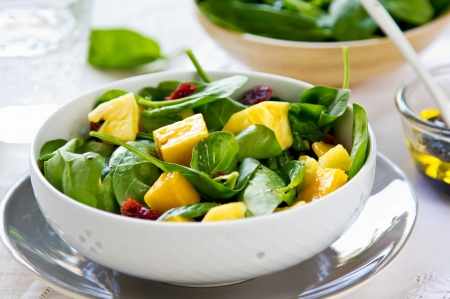 Mango and Pineapple with Spinach and dried cranberries salad photo