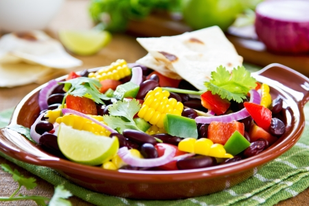 Bean with sweet corn and pepper salad with tortilla photo