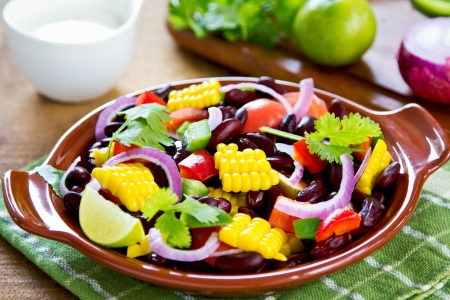 sweet and savoury: Bean with sweet corn and pepper salad with tortilla