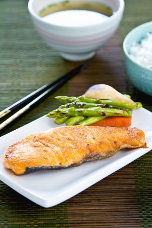 ed: Grilled Salmon with sautéed vegetables ,rice and Miso soup Stock Photo