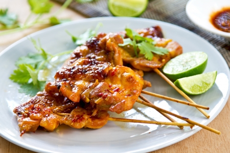 chilli sauce: Grilled chicken with Thai chilli sauce Stock Photo