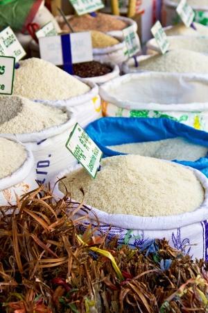 jasmine rice: Rice stall in a market in Siemreap,Cambodia