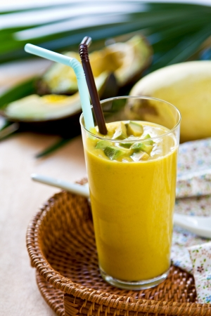 mango fruit:  Avocado with Mango smoothie Stock Photo