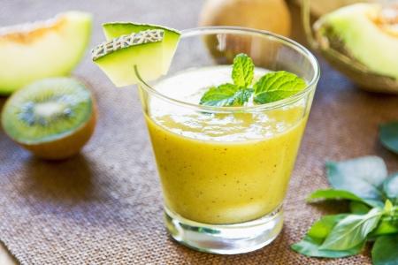 Melon with Kiwi and Mango smoothie Stock Photo