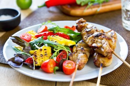 tandoori chicken: Grilled chicken skewer with grilled vegetables salad