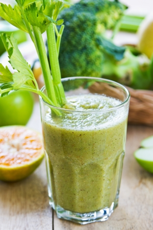 Apple with Celery ,Pear and Broccoli smoothie photo