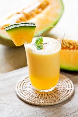 juice fruit: Cantalupo frullato Archivio Fotografico
