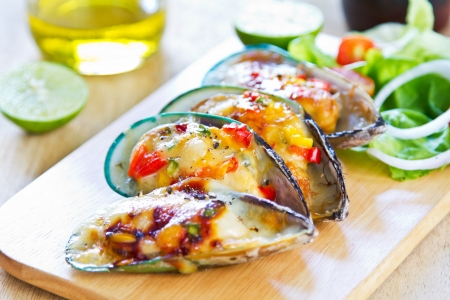 Baked Mussel with cheese with salad photo