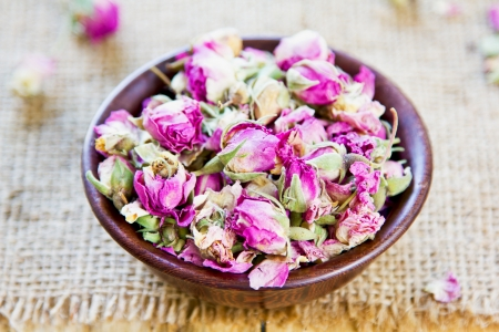 rose bud: Dried rose bud which are used  for tea,cuisine, cosmetic and decoration Stock Photo