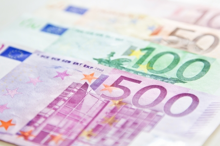 Varies of Euro banknotes as background