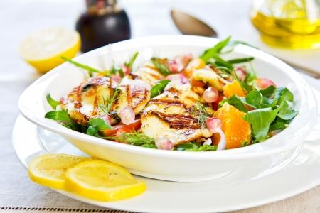 rocket lettuce: Grilled Halloumi with Pomegranate,Orange and Rocket salad