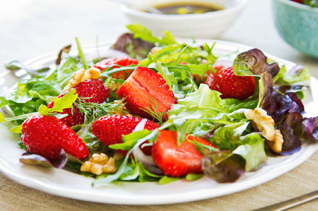 Strawberry with Walnut and Rocket salad by Balsamic dressing