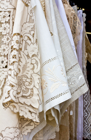 lace up: Closed up Handmade Lace sell in Burano, Venice Italy Stock Photo