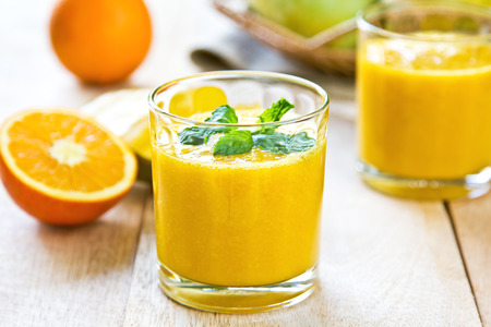 Mango and Orange smoothie by some fresh ingredients Reklamní fotografie