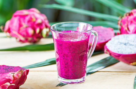 Purple Dragon fruit smoothie by fresh ingredient photo