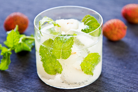 mocktail: Lychee fizzy drink with mint