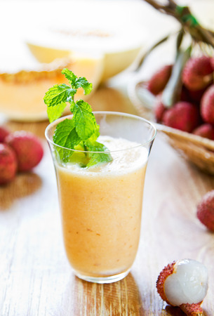 Lychee with Cantaloupe smoothie by fresh ingredients photo
