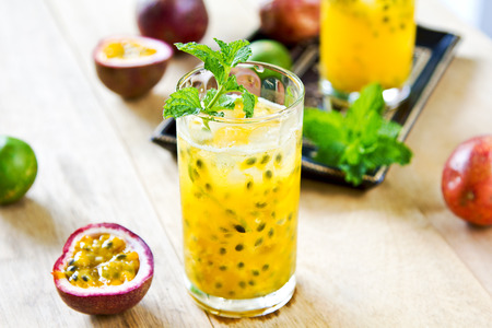 Fresh Passion fruit with Lychee and Lime Mojito photo