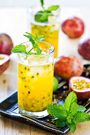 Fresh Passion fruit with Lychee and Lime Mojito