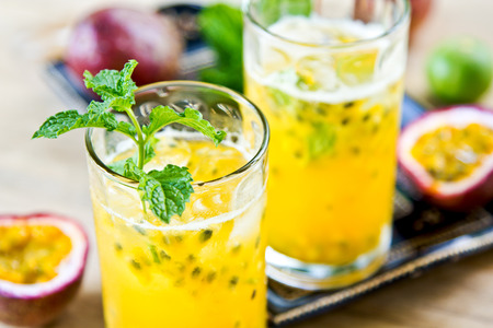 lychee: Fresh Passion fruit with Lychee and Lime Mojito