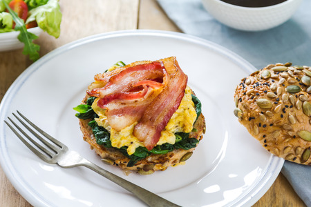 scramble: Bacon,scramble egg and steamed spinach on Pumpkin bread breakfast
