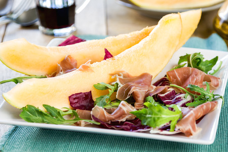 radicchio: Prosciutto with rocket, cantaloupe and  radicchio salad