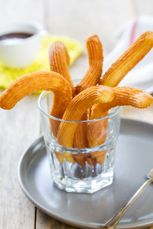 churros: Homemade Churros with chocolate sauce