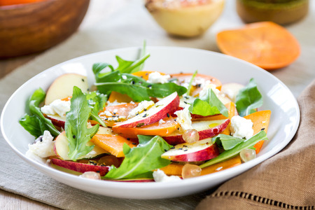 salad dressing: Apple with Persimmon, Rocket ,Pomegranate and Feta salad