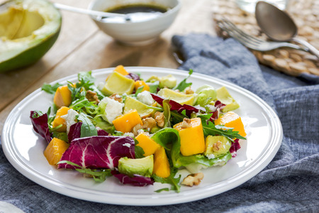 radicchio: Avocado with Mango,Rocket ,Walnut and Feta salad by Balsamic dressing