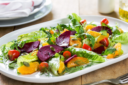 balsamic: Orange with Beetroot and pumpkin seed salad by balsamic dressing