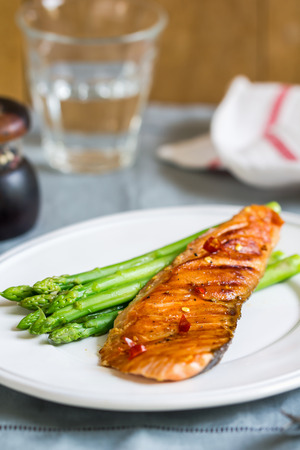 salmon dinner: Grilled Chilli Salmon with steamed Asparagus by sea salt