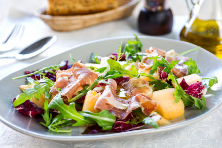 radicchio: Prosciutto with rocket, cantaloupe and  radicchio salad