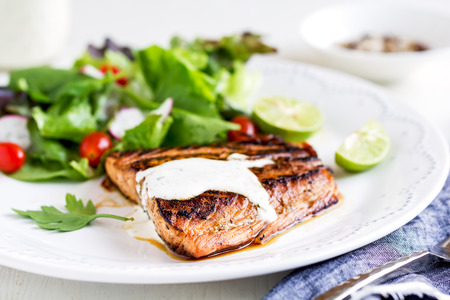 soured: Glazed Salmon with salad by soured cream dressing