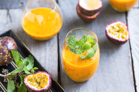 passion fruit: Mango with Passion fruit smoothie by fresh ingredients Stock Photo