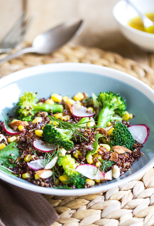 red quinoa: Red Quinoa with corn and broccoli salad by vinaigrette Stock Photo