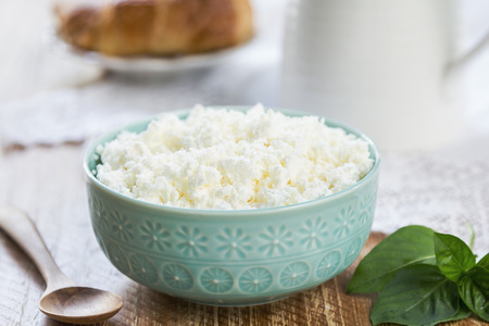 crumbling: Homemade Ricotta cheese by a jug of milk Stock Photo