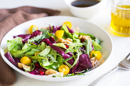 radicchio: Radicchio with Rocket,Walnut and Pomegranate salad Stock Photo