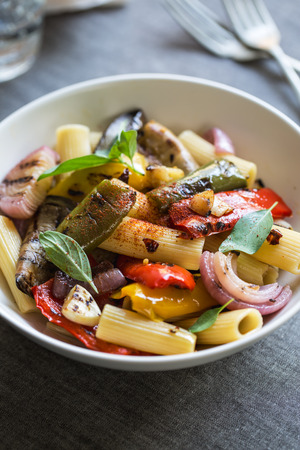 al fresco: Rigatoni with roasted ,aubergine,bell pepper and garlic